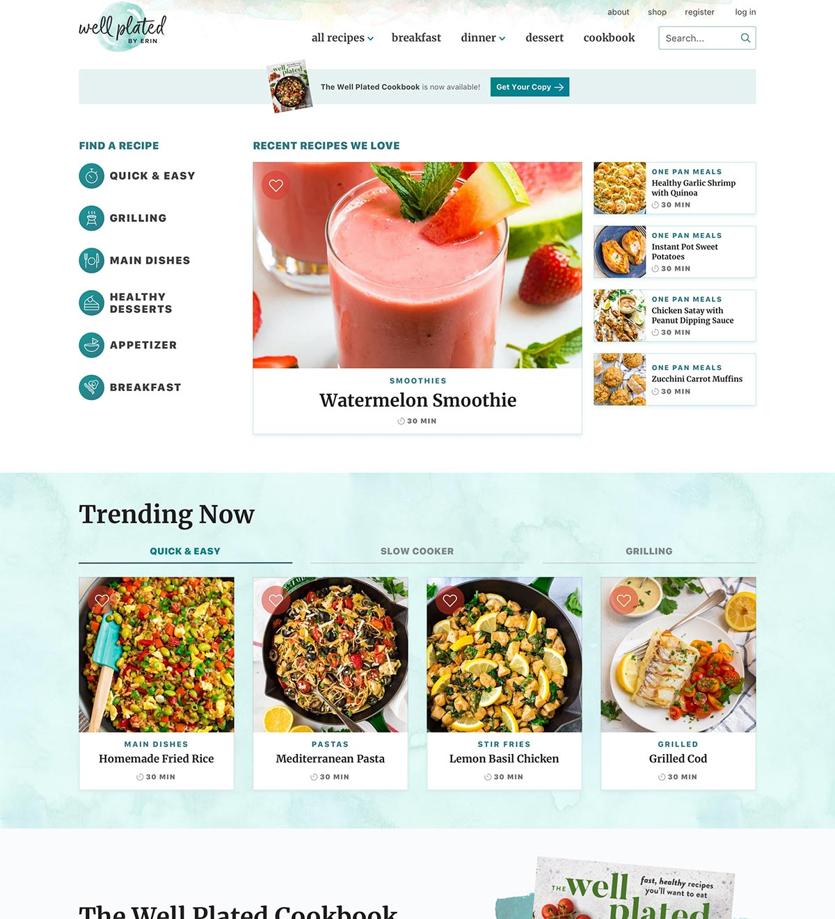 Well Plated homepage design